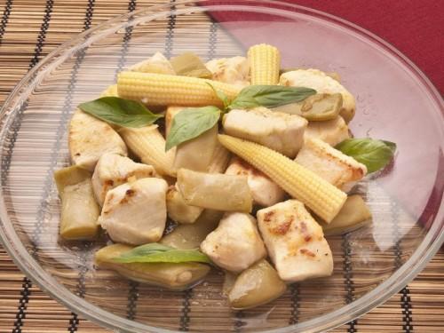 ricetta, ricette, cucina, ricetta con foto,secondo,secondo piatto,pollo,secondo piatto carne,mais,pannocchiette,pollo al salto,taccole,petto di pollo,